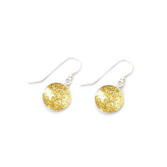 Czech glass and sterling silver gold sparkle earrings in gift tin