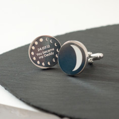 Personalised Phase of the Moon Cufflinks
