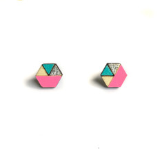 Hexagon geometric earrings in neon pink, aqua and silver glitter