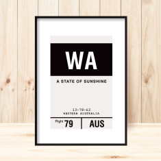 Western Australia luggage tag art print (more colours)
