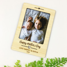 Personalised heart magnetic bamboo photo frame
