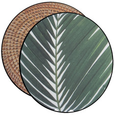 Leafy green rattan roundy cushion cover