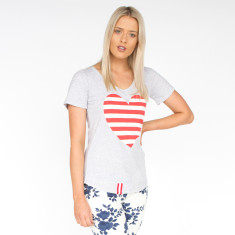 Striped Red Heart Light Grey Marle Cotton Tee