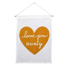 Love you aunty handmade wall banner with gold print