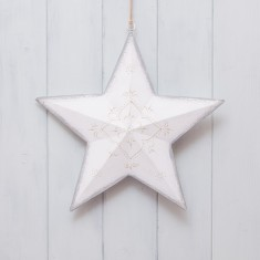 White Tin Star Decorations