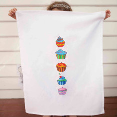 Cup cake design DIY tea towel kit