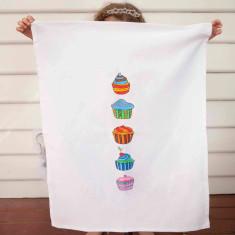 Cup cake design DIY tea towel kit