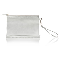 Olivia Clutch with Built-in Phone Charger - Silver Leather