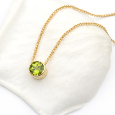 Peridot Necklace in 18ct Gold, August Birthstone