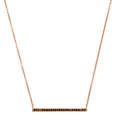 Celestial Bar Necklace in Rose Gold with Black Spinel Stone