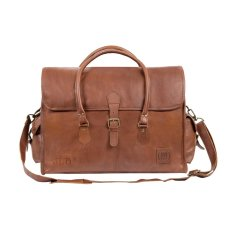 Leather weekender holdall in vintage brown
