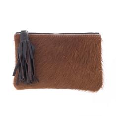 Chloe in Brown Calf-Hair/Brown Leather Clutch