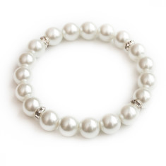 Glass pearl bracelet with diamante rondelles
