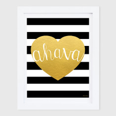 Ahava Gold Heart & Stripes Print