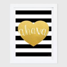 Ahava Gold Heart & Stripes Print