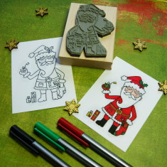 Father Christmas colouring-in Christmas rubber stamp