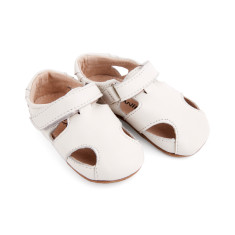 Pre-walker leather Sunday sandals in white