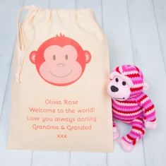 Knitted Monkey Cuddly Toy With Personalised Gift Bag