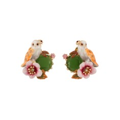 Owl and flower on green stone earrings