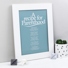 Recipe for parenthood personalised poem print