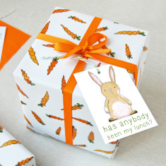 Easter Carrots And Rabbits Wrapping Paper Set