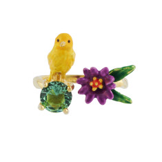 Yellow canary, Blue stone and Purple flower - Adjustable ring