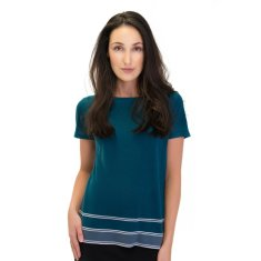 Silk Cashmere Striped Tee In Teal