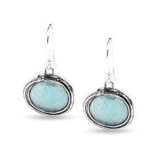 Venus Ancient Roman Glass Sterling Silver Oval Drop Earrings