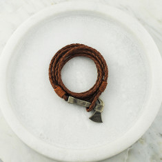 Leather axe wrap bracelet in leather and steel