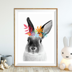 Woodsy rabbit art print(various sizes)