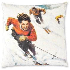 Italian Snow Ski linen cushion cover