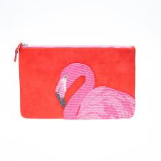 nooki design - suede beaded red flamingo clutch