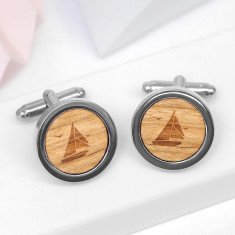 Wooden Sailing Boat Cufflinks