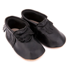 Pre-Walker Leather Moccasins in Black