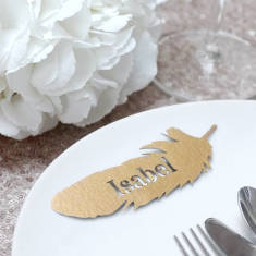 Personalised Laser Cut Feather Place Names (Set of 10)