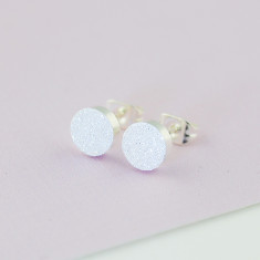 Circle shimmer studs in silver