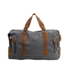 Grey canvas weekend duffle bag