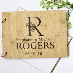 Personalised Bamboo wood monogram/initial wedding guest book