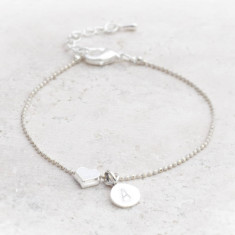 Tertia silver plated heart personalised bracelet