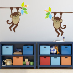 Two Monkeys On Branches Wall Sticker