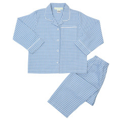 Boys' light blue check pyjamas