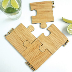 Personalised Cut Out Walnut Jigsaw Interlocking Coasters (Set Of Four)