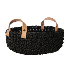 Rope basket with leather handles
