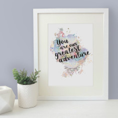 You are our greatest adventure watercolour map blot print