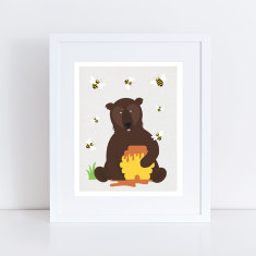 bear and bees art print