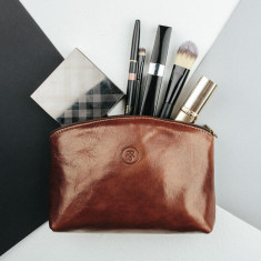 Chia small leather makeup bag
