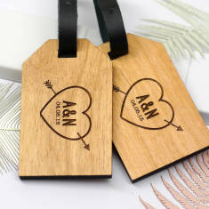 Personalised wooden heart and arrow luggage tags
