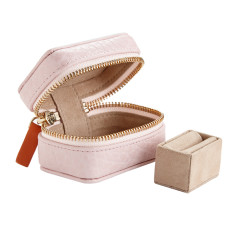 Soft Textured Gloss Leather Ring and Trinket Box for Travel