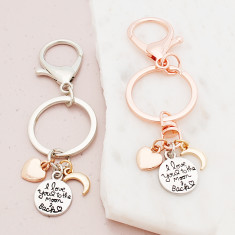 I love you to the moon and back keyring in silver, gold and rose gold