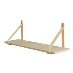 Nude leather strap shelf in nordic